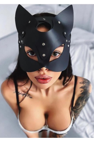 Deri Kedi Kız Maskesi Kanatlı Butik