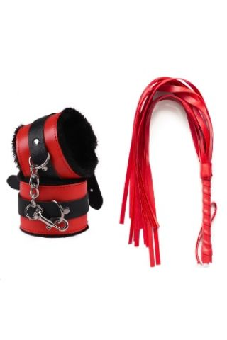 Siyah Kırmızı Kelepçe Kırbaç Set - Kanatlı Butik